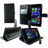 Emartbuy® Nokia Lumia 735 / Lumia 730 Dual Sim Brieftaschen Wallet Etui Hülle Case Cover aus PU Leder Schwarz mit KRotitkartenfächern