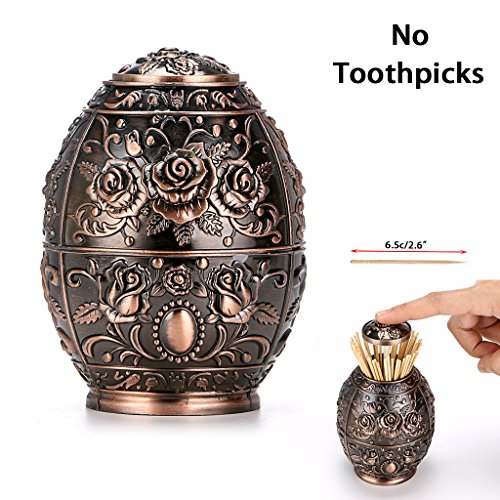 BTSKY Automatic Toothpick Holder - European Retro Push Style Toothpick Holder Container Dispenser for Kitchen Restaurant, Antique Home Office Decoration Decor (Red Bronze)