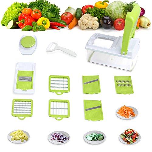 Amzdeal Gemüseschneider Kartoffelschneider - praktischer Multischneider für die meisten Gemüse und Früchte, schnelle und saubere Gemüsehobeln aus lebensmittelechten Sicherheitskunststoff und 304 Edelstahlklingen (Sauberen Früchte Die)