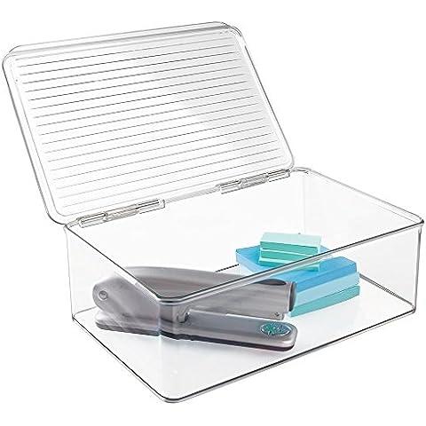 mDesign - Organizador de suministros de oficina / Organizador de escritorio, con tapa; organiza abrochadoras, tijeras, lapiceras, notas autoadhesivas, resaltadores, cinta - Claro