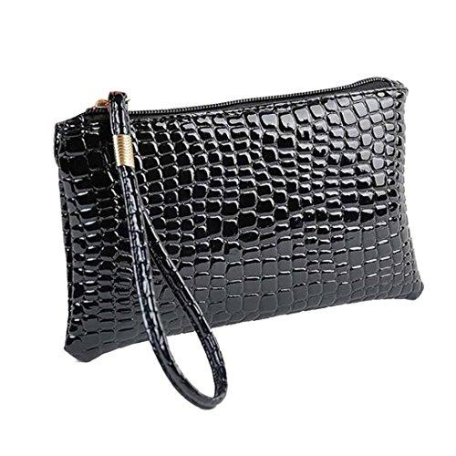 Damen Geldbörse Leder Elegant Portemonnaie,Rosennie Damen Geldbörse Luxus Brieftaschen Für Frauen Groß Kapazität,Portemonnaie mit Reißverschluss,Krokodilleder Clutch Handtasche Tasche (Schwarz)