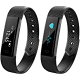 Curiocity Black Bluetooth Smart Band Fitness Tracker With Heart Rate Monitor For Android/Ios Mobile Phones