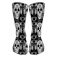 "Compression Socks 19.7""(50cm) for Women & Men Best for Running, Athletic Sports, Crossfit, Flight Travel white sugar skull"