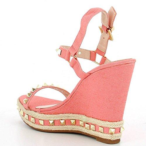 Ideal Shoes - Sandales compensées en toile avec clous Verica Rose
