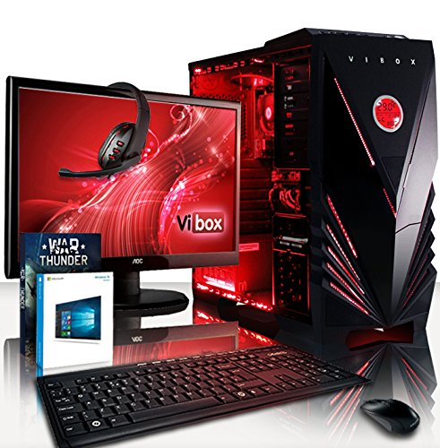 Vibox VBX-PC-5444 Vision Paket 2SXLW 54,6 cm (21,5 Zoll) Gaming Desktop-PC (AMD A Series A4-6300, 32GB RAM, 2TB HDD, AMD Radeon HD 8370D, Win 10 Home) rot