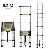 Buyi-World, Teleskopleiter ALU-Leiter Stehleiter Anlegeleiter Mehrzweckleiter Ausziehleiter Sprossenleiter aus Hochwertigem Alu, 3.2M mit erweiterter Grundlage