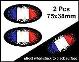 Lot de 2couleurs à Noir porté Grunge Motif ovale avec drapeau France Français Sticker pour casque de moto voiture 75x 38mm