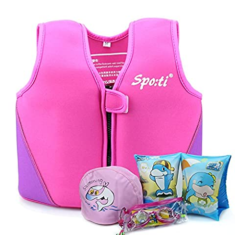 Girls Swimming Vest Buoyancy Aid - Siuyiu (2017 New Design) Child Neoprene UV Pink Swim Vest Life Jacket Float Suit, For Kids Age 3-4 Years Swimming Beginner Learn To Swim, Including Swimming cap, swimming goggles, Swimming Armbands, 8 Removable Floats With Adjustable Buoyancy, 100% UV Protective