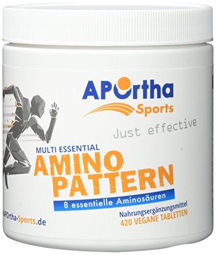APOrtha Sports Amino Pattern - 8 essentielle Aminosäuren im optimalen Verhältnis - 420 vegane Tabletten (Aminosäuren Essentielle)