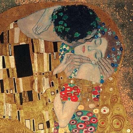 Il bacio par Klimt, Gustav -Imprimé beaux-arts sur toile - Grand (140 x 140 cms)