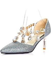 Zapatos De Tacón Alto Rhinestone De Punta Estrecha De Las Mujeres Sandalias De Fiesta De Fiesta Strappy Slip-On
