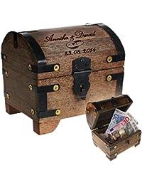 Cofre del tesoro de madera oscura con grabado – Regalos de boda – Caja de madera para regalos de dinero – Motivo [Anillos de boda] – Personalizado con [nombres] y [fecha] deseados – 14 x 11 x 13 cm