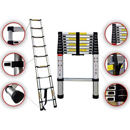 Sotech - Escalera Plegable, Escalera Telescópica, 2,6 Metro(s), EN 131, Carga máxima: 150 kg, Estándar/Certificación: EN131