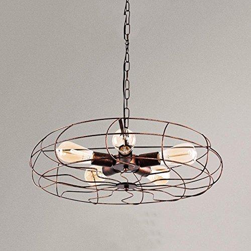 GBYZHMH Amerikanische Loft Retro Creative Industrial Wind Led Lüfter Kronleuchter Restaurant Lüfter leuchten Wohnzimmer Lampen Beleuchtung 5 Köpfe, rostige Dekoration Lampen - Badezimmer-ventilator-lichtschalter
