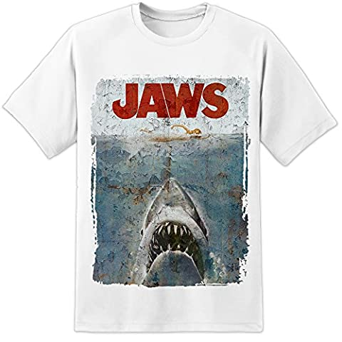 Jaws Spielberg Distressed Movie Poster T Shirt (S-3XL)