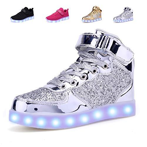 adituob Kinder LED Schuhe - Licht Auf Casual Schuhen Mode Atmungsaktives Mesh Blinkende Turnschuhe Ausbilder Outdoor Schuhe Für Die Jungen Mädchen Silber36
