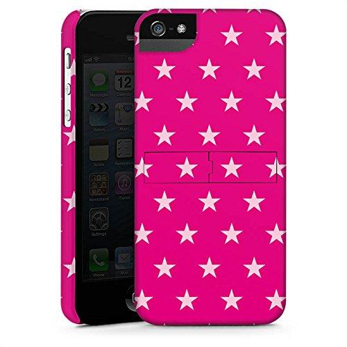 Apple iPhone 5s Housse Étui Protection Coque Étoile Rose vif Motif CasStandup blanc