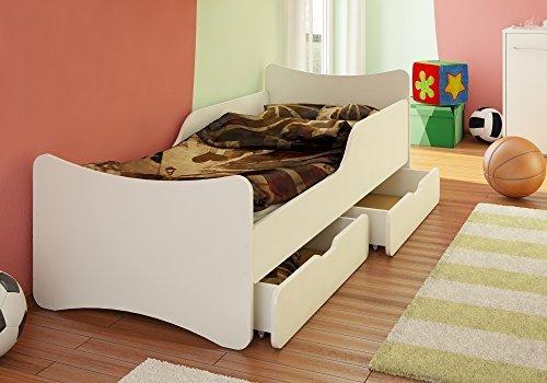 *BEST FOR KIDS KINDERBETT 90×200 weiß mit Schaummatratze TÜV ZERTIFIZIERT MIT ZWEI SCHUBLADEN 90×200*