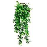 REKA Pianta Artificiale Verde Decorativo di plastica w//Stile Rustico Marrone Ceramica Planter Pentola Contenitore Verde