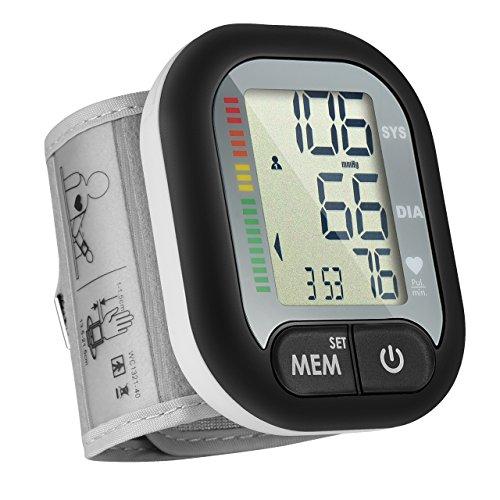 Erwachsene, Blutdruckmesser (Handgelenk-Blutdruckmessgerät, vollautomatisches Blutdruckmessgerät Handgelenk, abnormaler Blutdruck und unregelmäßiger Herzschlagdetektor mit Weitbereichsmanschette, 60 Aufzeichnungen für einen Benutzer, für Erwachsene..)