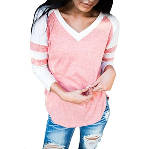 dayseventh-women-tops-v-neck-pullover-long-sleeve-top-blouse-l-pink