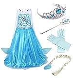 YOGLY Mädchen Prinzessin Elsa Kleid Kostüm Eisprinzessin Set aus Diadem, Handschuhe, Zauberstab, Größe 120,  08 Kleid und Zubehör