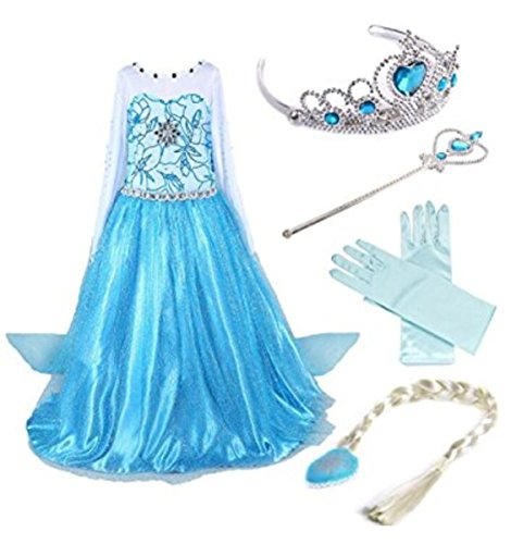 essin Elsa Kleid Kostüm Eisprinzessin Set aus Diadem, Handschuhe, Zauberstab, Größe 100,  08 Kleid und Zubehör ()
