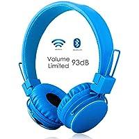 Termichy Bluetooth Kopfhörer Kinder mit 93dB Lautstärkebegrenzung, Faltbare Tragbare Leicht kopfhoerer Kabellos mit Audio Kabel On-Ear Drahtloser Kopfhörer Musik Shareport, Eingebautem Mikrofon (Blau)