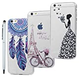 [3 Pack] iPhone 6 Case,iPhone 6S Case,Ultra Slim Premium Soft TPU Silicone Case Flexible Lightweight Cover Protective Anti-Scratch Shockproof Bumper Anti-Slip Grip Case Cover for iPhone 6 / 6S - Wind Chimes + Cycling tower + Butterfly Girl [One Stylus]