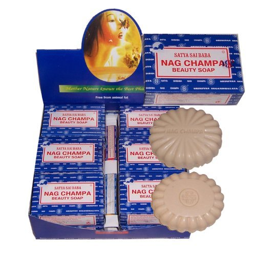 Nag Champa Beauty Soap 12x75g Satya Sai Baba Seife Körperpflege Baden Vorratspack