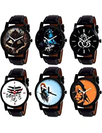 SKYLONA Combo Of 6 New Arrive Mahadev Printed With Casual & Formal With High Quality Leather Belt Analog Watch...