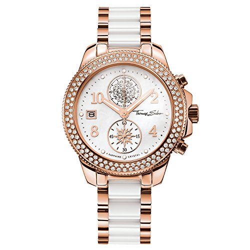 £462.42 Best Seller Thomas Sabo Women's Watch Glam Chrono Rose Gold White Analogue Quartz