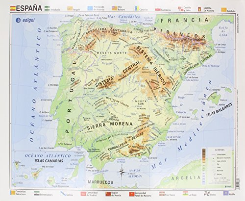Mapa EDIGOL Poster 70x50 cm Fisico POLITICO sin Varilla