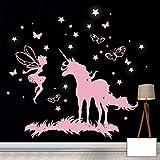ilka parey wandtattoo-welt Wandtattoo Wandbild Wandaufkleber Wandsticker Aufkleber Sticker Einhorn Fee mit Schmetterlingen und fluoreszierenden Sternen M2018 - ausgewählte Farbe: *weiß* ausgewählte Größe: *XXL - 130cm breit x 130cm hoch*