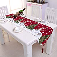 Pveath Christmas Embroidered Table Runner Xmas Table Linens for Christmas Decoration Home Tablecover Decorative 2 Sides Cotton Linen Classic Table Bedding Mat Dining Room Party Holiday Decor 2
