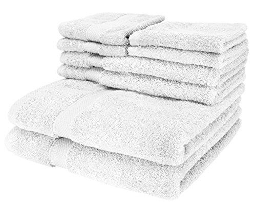 Set di 6 asciugamani di lusso bianchi - 2 asciugamani, 2 asciugamani ospite, 2 salviette, più 2 salviette in omaggio - al 100% naturali cotone egiziano 650 gsm - super morbidi e molto assorbenti