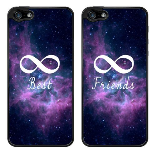 Infinity Galaxy Nebula Friendship Best Friends Snap-On Cover Hard Plastic Case Set for iPhone 5/5S - Set of 2 Cases (Black)