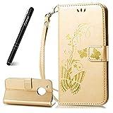 Slynmax Motorola Moto G5 Phone Case, Motorola Moto G5 Leather Flip Case, [Floral Series] Wallet Flip Folio PU Leather Bronzing Embossed Butterfly Flower Pattern Hand Strap + 1 * Stylus Pen