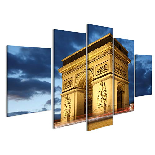 islandburner Cuadro Cuadros París, Famoso ARC de Triumph en la Noche, Francia Sobre Lienzo Formato Grande Listo para Colgar estupendo