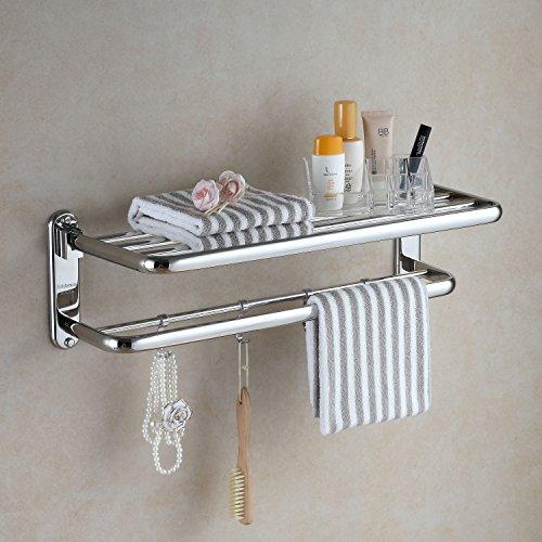 Eridanus, Edelstahl Handtuchablage für Badezimmer, Badregal, Verchromt, Handtuchhalter Klappbar