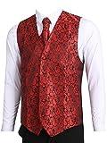 LL L & L Herren Weste mit Paisley-Muster Weste und Krawatte Einstecktuch Set für Anzug - UK Weihnachten - Rot, Chest 44'' XXXL