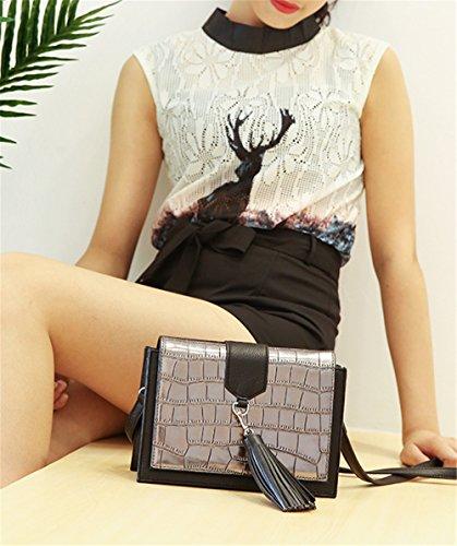 Xinmaoyuan Borse donna in pelle Borsette femmina singolo Shoulde Messenger Bag infiorescenza staminifera quadrato piccolo sacchetto,argento Grigio argento