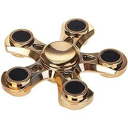 HuntGold Spinner Mano Juguete de Quinario de Metal EDC,para Niños Adultos ADHDs, Juguete Sensorial