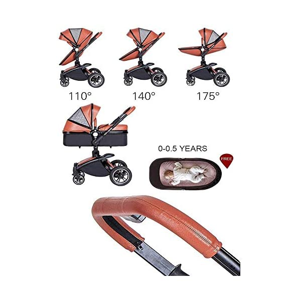 HZC 2 in 1 Baby Stroller Newborn Bassinet Travel System Baby Carriage for Toddler Girls and Boys (Color : White) HZC Suitable for baby strollers from birth to 25 kg, made of high-quality aluminum alloy, each baby stroller is pressure tested to provide safety for every baby. Multi-position Reversible Seat: Carrycot for newborn to 6 months can simply convert to seat for toddlers. Easily switch from the carrycot to toddler seat once your baby is 6 months old or can sit unaided,making it an ideal stroller for both infant and toddler. Reversible seat design allows baby to face you or face the world 2
