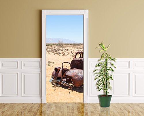 Türaufkleber - Verlassenes Auto in der Wüste - Namibia - 90 x 200 cm - Aufkleber - Türbild - Türfolie - Bild für Tür - Trockenwüste - Afrika - Nationalpark - UNESCO-Welterbe - Natur - Landschaft