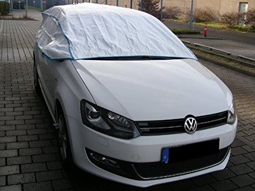 Kley & Partner Autoabdeckung Halbgarage Plane atmungsaktiv extrem leicht kompatibel mit Volkswagen VW Golf 7 ab 8/2012 in weiß Exclusiv aus Tyvek mit Lagerbeutel