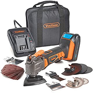 VonHaus 20V Max Multi-Tool - Cordless - Oscillating 3.2° - 1800 to 1800 OPM - Battery, Charger, Tool Bag & 20pc Accessory Set