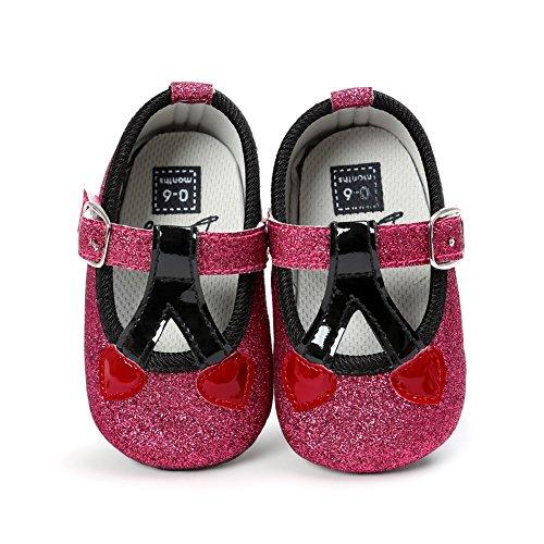 MiyaSudy 0-18 Monate Kleinkind Baby Mädchen Kirsche Pailletten Prinzessin Lauflernschuhe Rose