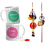 TiedRibbons® Rakhi For Brother And Bhabhi Combo With Set Of 2 Printed Coffee Mugs With Roli Chawal