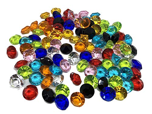 CRYSTAL KING 100 Stück 15mm große Bunte Deko-Diamanten Brillianten bunt klar basteln Gltzersteine Schmuck-Steine Strass-Steine Streu-Deko Tisch-Deko (Stein Tisch)